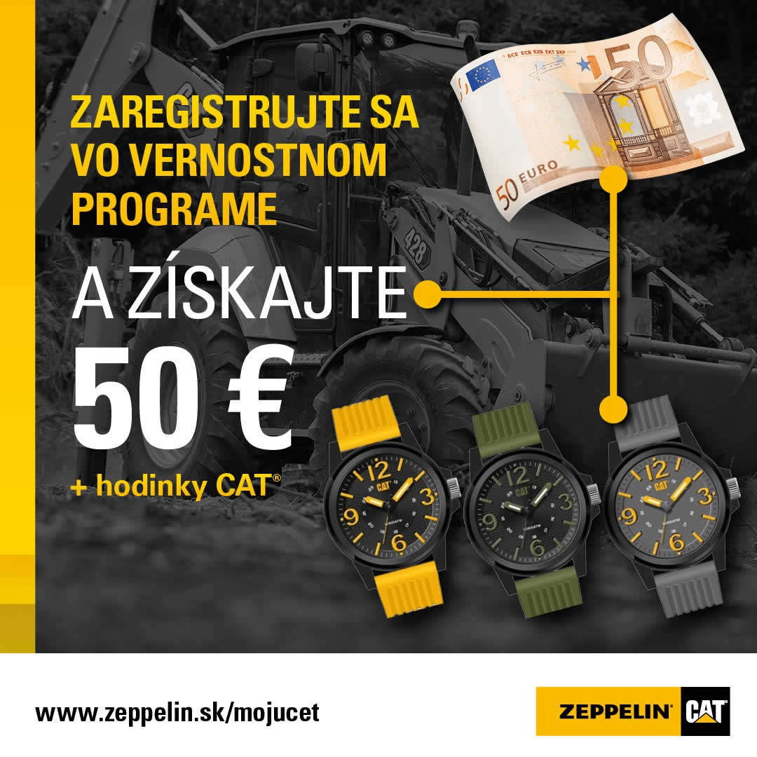 Zaregistrujte sa vo vernostnom programe a získajte 50 € + hodinky CAT®
